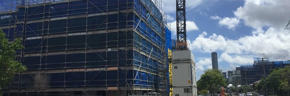 Extensive development takes over suburban streets