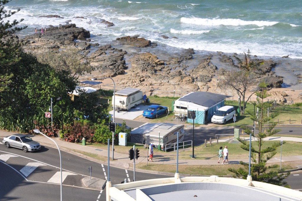 Mooloolaba view from hotel to caravan park